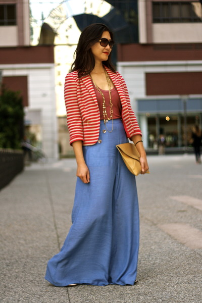 Blue Zara Wide Leg Pants | Chictopia