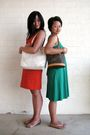 White-coach-purse-orange-banana-republic-dress-brown-louis-vuitton-purse-g