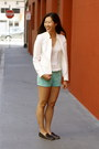 White-zara-blazer-aquamarine-moddame-shorts