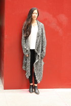 black q2 cardigan - black Rachel Comey boots - black Very Honey leggings