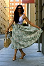 Turquoise-blue-h-m-skirt-nude-coach-bag-bronze-cole-haan-heels