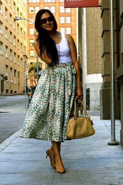turquoise blue H&M skirt - nude coach bag - bronze Cole Haan heels