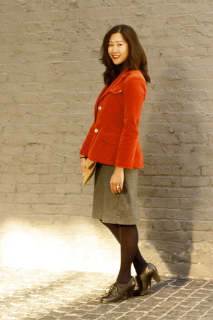 burnt orange sunhee moon blazer - navy JCPenney tights - black Kimchi Blue heels