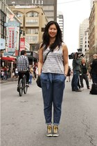 navy Habitual pants - heather gray Zoa top - black Keds sneakers