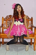 black leggings - nude syrup LA boots - hot pink ruffles DIY dress