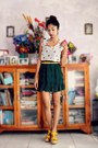 Yellow-therapy-wedges-dark-green-pleated-from-korea-skirt