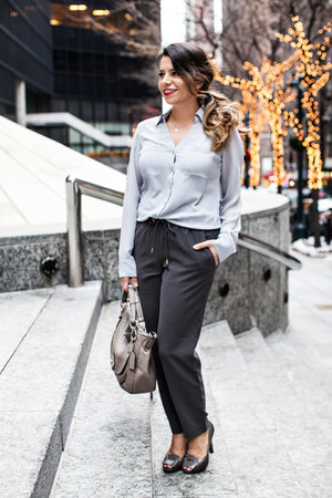 Zara coat - coach bag - Nine West heels - Express pants - Express blouse