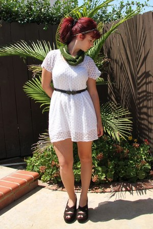 green crochet handmade scarf - white venus dress