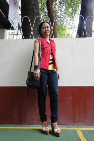 red thrifted vest - yellow thrifted top - black NXT jeans jeans - brown Parisian