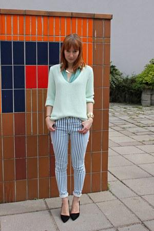 Zara jumper - black Zara heels - Zara blouse - Topshop pants
