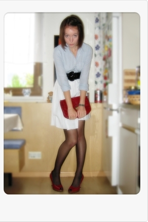 blue H&M blouse - black H&M belt - white American Apparel skirt - red Ebay purse