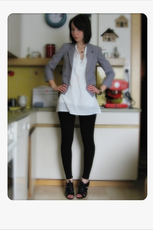 gray Ebay blazer - white Vero Moda blouse - black H&M leggings - black Graceland