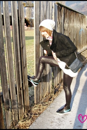 black Zara jacket - gray dress - black H&M tights - black nike shoes - gray H&M