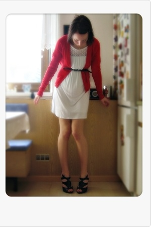 red H&M jacket - white Ebay dress - black LaRedoute belt - black Ebay shoes