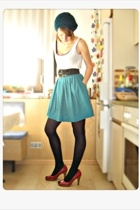 white H&M shirt - black LaRedoute shirt - black H&M belt - blue vintage skirt -