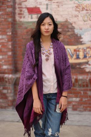 magenta poncho cape - light pink H & M blouse