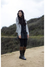 Puce-jcrew-necklace-dark-brown-riding-boots-dark-gray-wool-a-line-dress