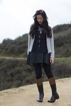 puce Jcrew necklace - dark brown riding boots - dark gray wool a line dress