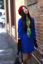 blue H&M dress - red beret Ebay hat - green silk Chanel scarf