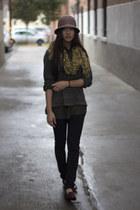 dark gray Zara sweater - leopard print scarf - army green silk thrifted blouse