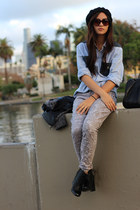 chambray DIY shirt - Zara boots - lace brocade Nordstrom jeans - Gap jacket