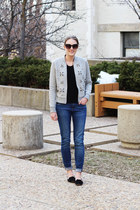 heather gray embellished banana republic jacket - blue madewell jeans