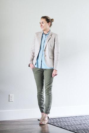 light blue madewell shirt - beige JCrew Factory blazer - olive green JCrew pants