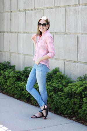 light pink gingham JCrew Factory shirt - light blue madewell jeans