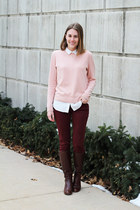 light pink everlane sweater - brown Cole Haan boots - white Uniqlo shirt