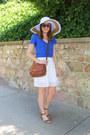 White-modcloth-hat-brown-coach-bag-brown-target-sandals-white-jcrew-skirt