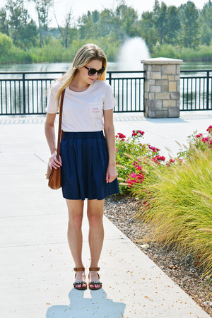 navy everlane skirt - brown coach bag - brown Target sandals