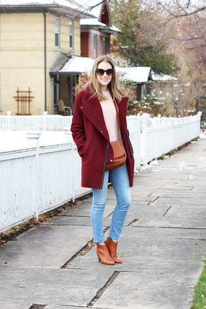 brown madewell boots - maroon madewell coat - light blue madewell jeans