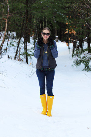 yellow Hunter boots - navy madewell jeans - green plaid llbean shirt