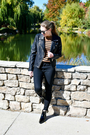 black Marc Fisher boots - black everlane jeans - black blank nyc jacket