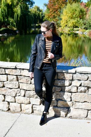 black Marc Fisher boots - black everlane jeans - black blank nyc jacket