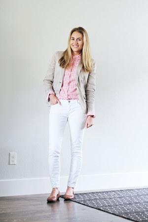 light pink gingham JCrew Factory shirt - white Loft jeans