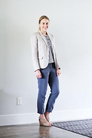 beige JCrew Factory blazer - navy striped Loft top - blue Loft pants