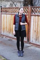 gray JCrew Factory vest - gray modcloth boots - maroon JCrew Factory sweater