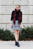 red plaid madewell scarf - navy Sole Society boots - navy JCrew sweater