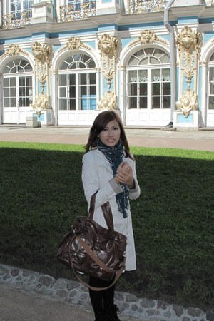 eggshell camaieu coat - forest green from bangkok scarf - dark brown from taiwan
