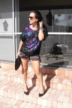 black vintage bag - puce silk Animale shorts - bronze turtleshell Karen Walker s