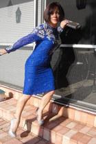 blue sequins cougarvintage dress - silver glitter Aldo purse - silver glitter Al