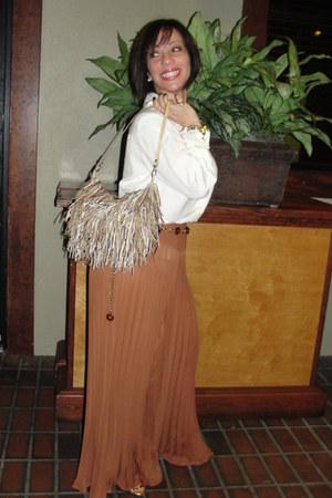bronze leather bag vintage bag - tawny 70s Topshop pants - eggshell 100 silk Ted