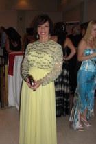 light yellow from paris vintage dress - periwinkle mothers closet vintage bag -