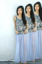 sheer maxi American Apparel skirt - Jeffrey Campbell shoes - galaxy top top