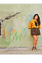 mustard vintage blouse - black DIY bow accessories - Forever 21 skirt