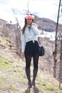 Black-studded-maje-boots-pink-flower-crown-diy-hat
