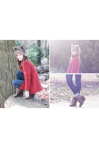 brown furry ears asos hat - ruby red wool felt vintage coat