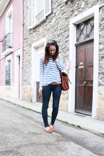 navy skinny Meltin Pot jeans - blue striped H&M sweater