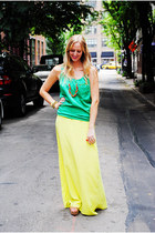 yellow skirt - chartreuse top